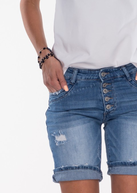 Włoskie szorty jeansowe PRZESZYCIA i GUZIKI denim