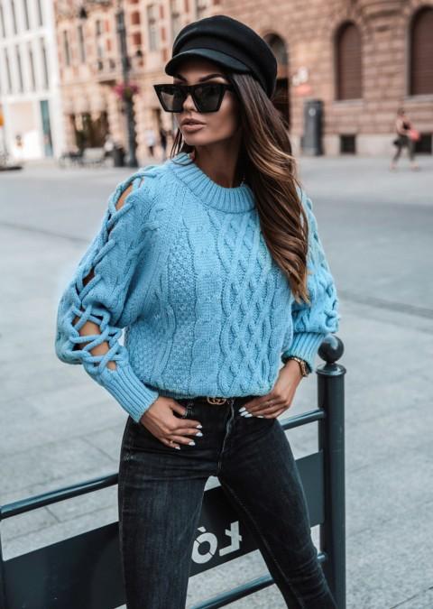 Sweterek COCOMORE efektowne rękawy niebieski