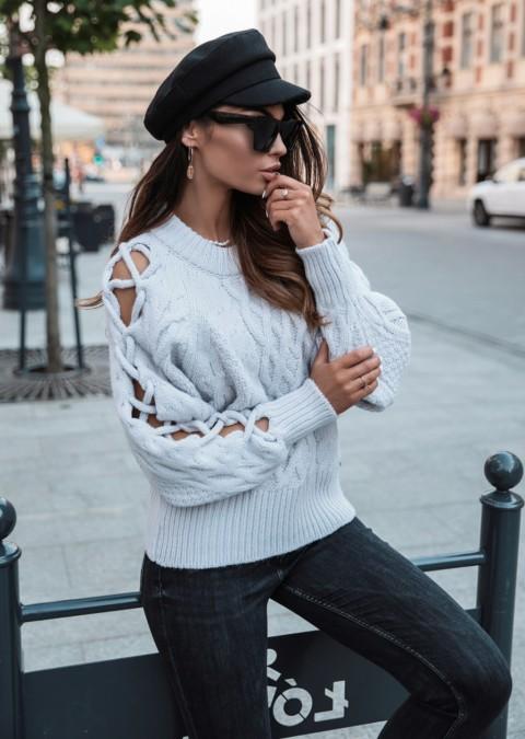 Sweterek COCOMORE efektowne rękawy szary