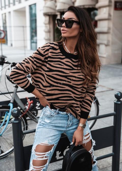 Sweterek Cocomore zebra czarno-karmelowy