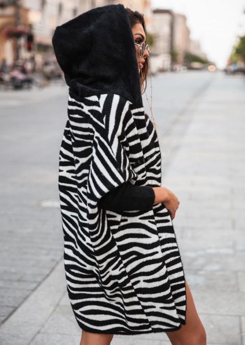Płaszczyk Cocomore PREMIUM zebra (bez kieszeni) czarno-karmelowy