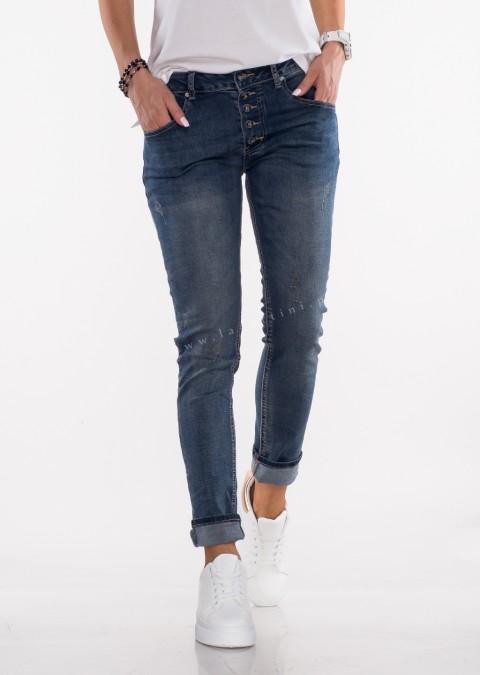 Włoskie jeansy GUZIKI przeszycia ciemny jeans 325 II