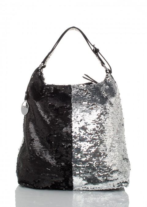 abc768e7fdc56 Italy torebka worek cekiny black silver ...