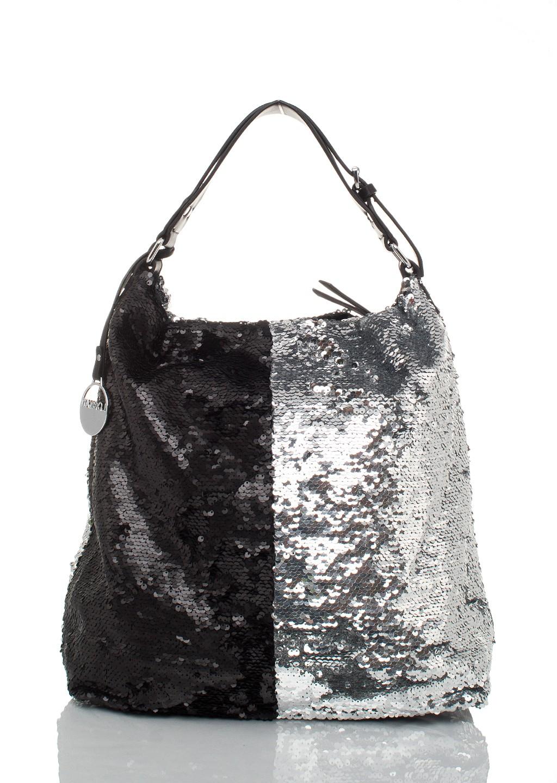 2bb9c9bc32332 Italy torebka worek cekiny black&silver - Lagattini