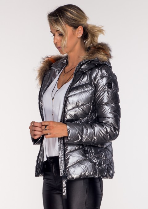 Pikowana kurtka JENOT srebrna połysk