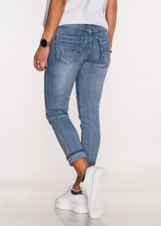 Włoskie jeansy PRZESZYCIA GUZIKI przecierany blue jeans