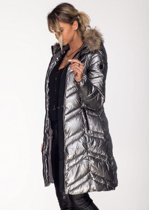 Pikowany płaszcz PREMIUM JENOT srebrny