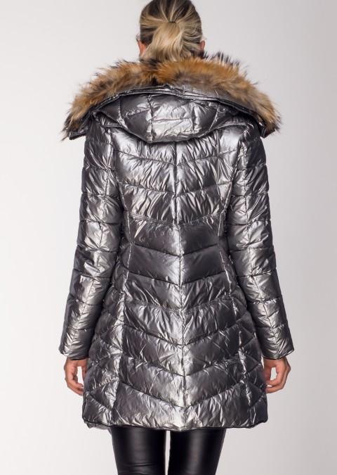 Pikowany płaszcz PREMIUM JENOT 2 srebrny
