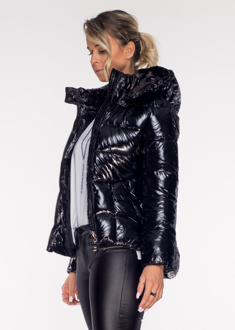 Włoska pikowana kurtka EASY 2w1 czarny połysk