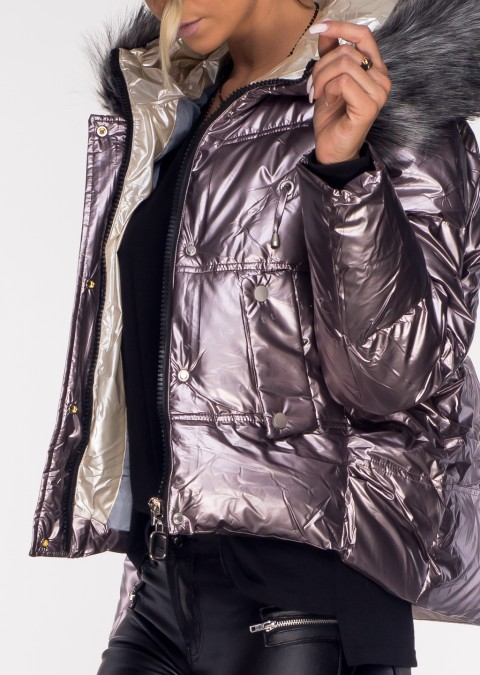 Pikowana kurtka QUENN wrzosowy połysk