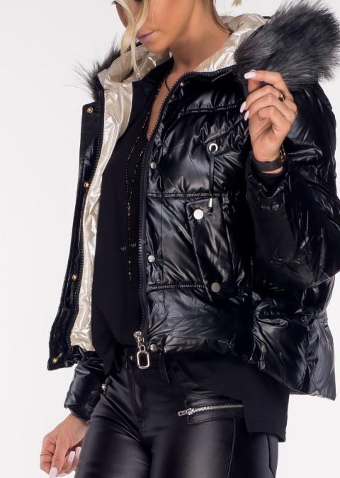 Pikowana kurtka QUENN czarny połysk