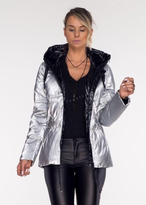 Włoska kurtka GLOSS silver/black