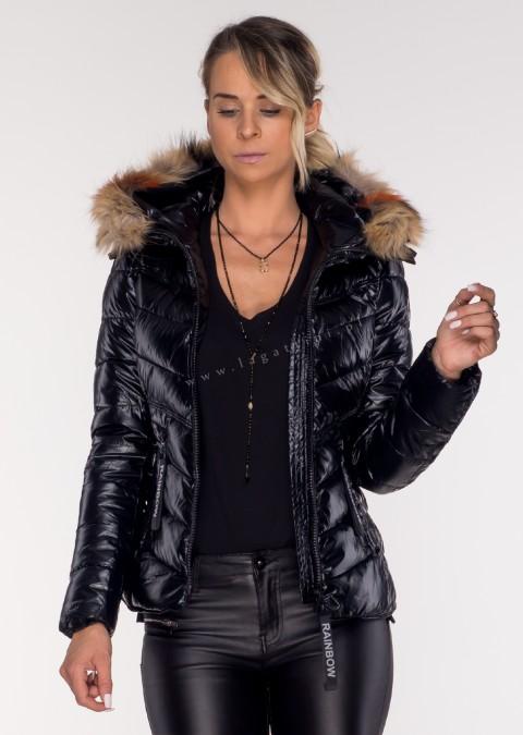 Pikowana kurtka JENOT czarna połysk