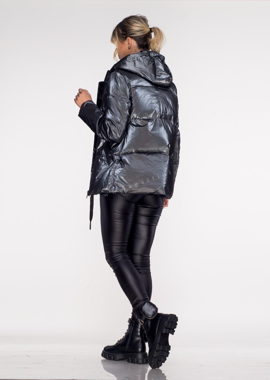 Włoska kurtka GLOSS czarna połysk