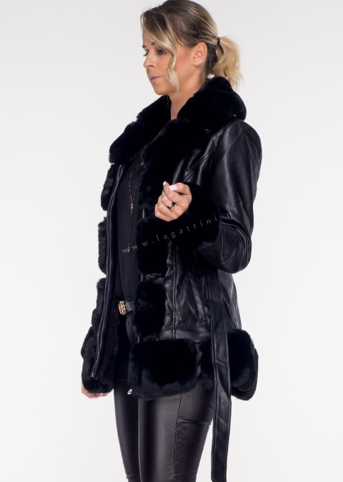 Włoski płaszczyk PREMIUM ECO LEATHER black