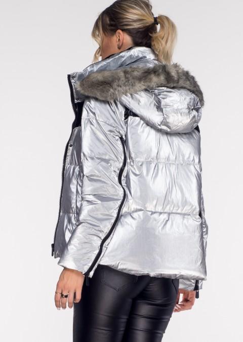 Włoska pikowana kurtka BLACK ZIP srebrna