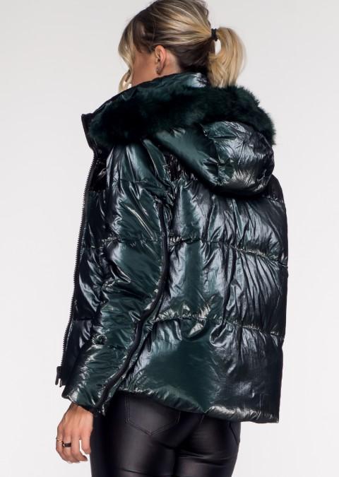 Włoska pikowana kurtka BLACK ZIP butelkowa zieleń