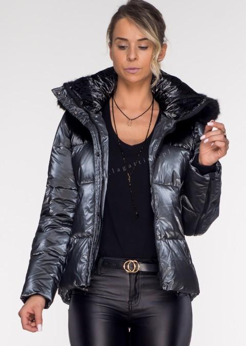 Włoska pikowana kurtka BLACK ZIP grafitowa