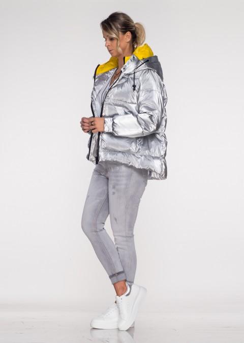 Włoska pikowana kurtka JERSAY silver&yellow