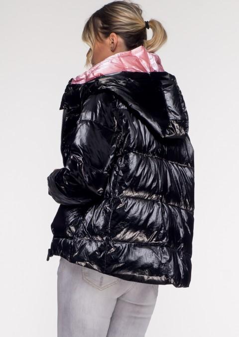 Włoska pikowana kurtka JERSAY black&pink