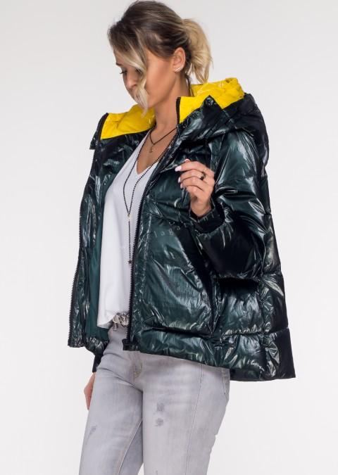 Włoska pikowana kurtka JERSAY green&yellow