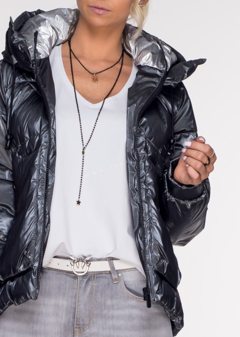 Włoska pikowana kurtka JERSAY gray&silver