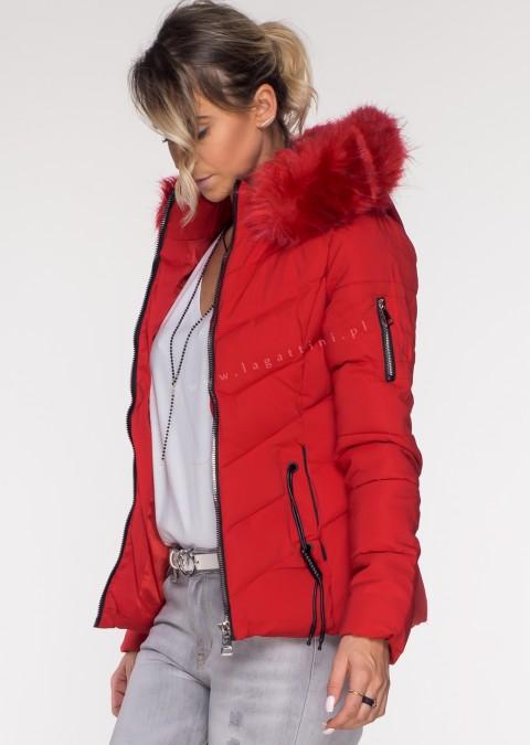 Włoska pikowana kurtka MONTE czerwona