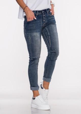 Włoskie jeansy PRZESZYCIA GUZIKI ciemny jeans