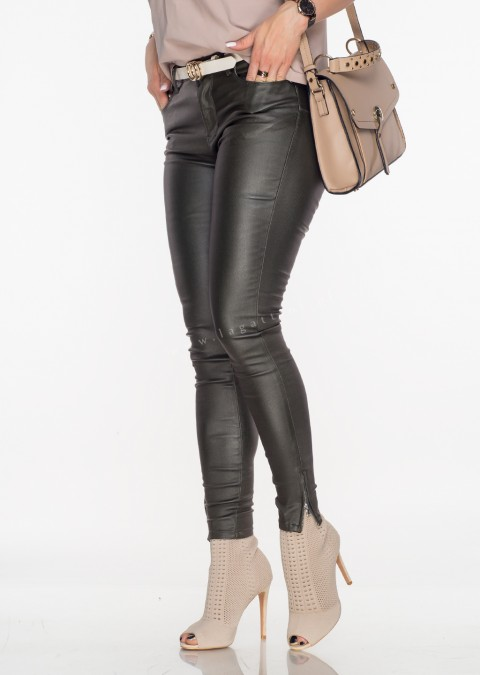 Włoskie spodnie VERONICA ZIP PUSH UP woskowane khaki