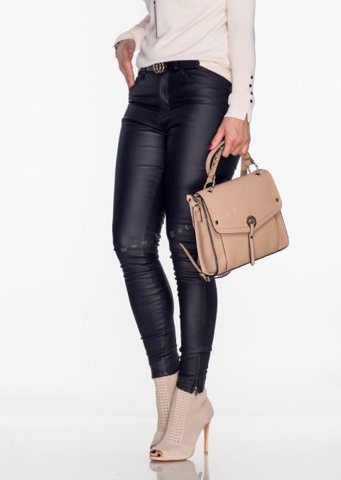 Włoskie spodnie VERONICA ZIP PUSH UP woskowane czarne