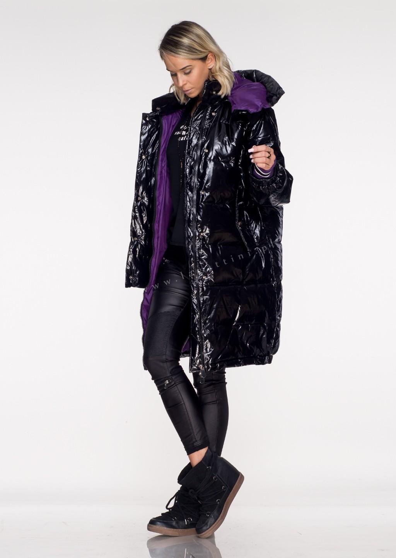 Włoski płaszcz VERONICA 2w1 czarny/zielony połysk