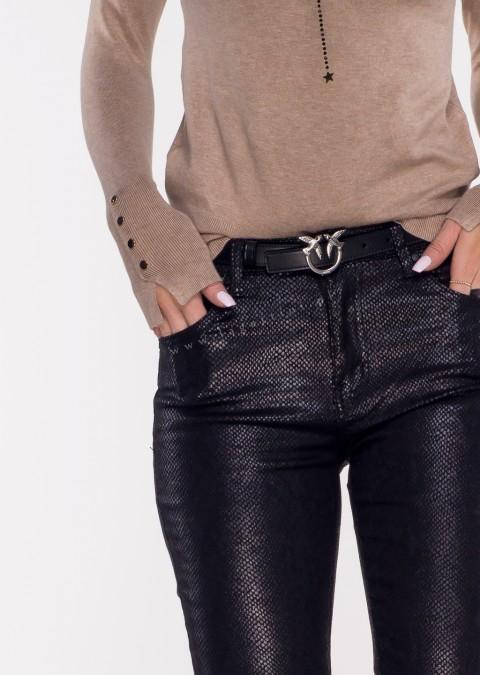 Włoskie spodnie ECO LEATHER wzór czarne