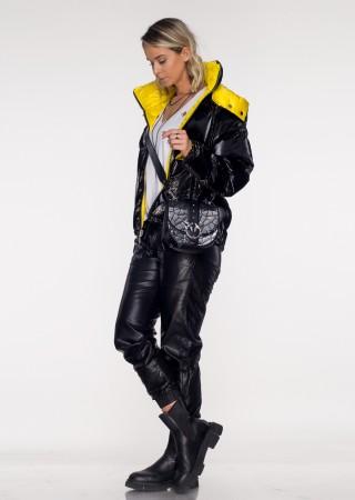 Włoska dwustronna kurtka JERSAY czarno- żółta połysk