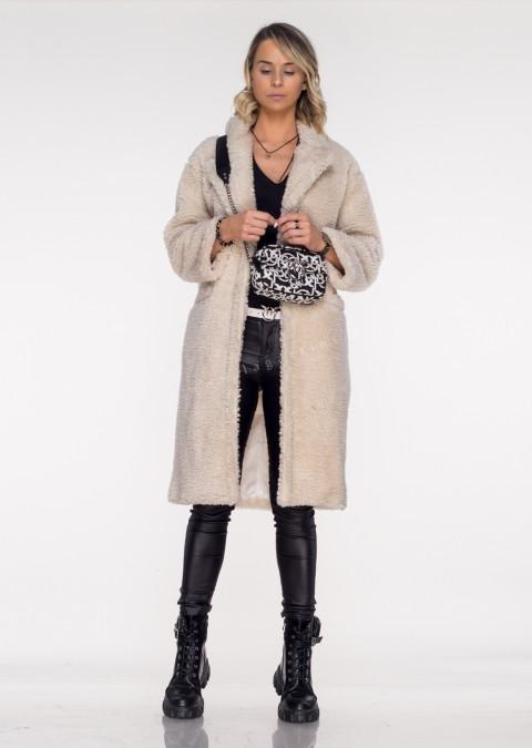 Włoski płaszcz PORTOFINO shaggy ecru