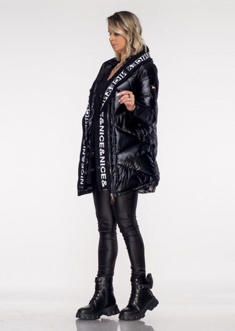 Pikowany płaszcz NICE NICE czarny połysk
