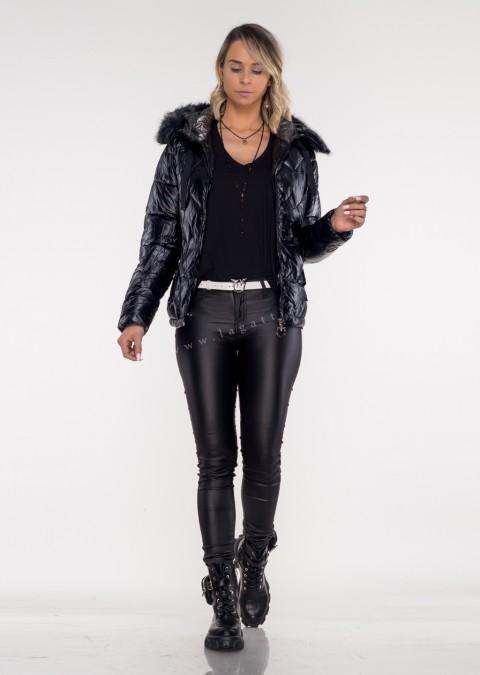 Pikowana kurtka MOLLY czarna