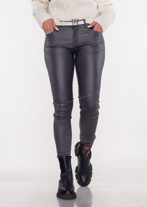 Włoskie spodnie CLASSIC 6688 woskowane grafitowe
