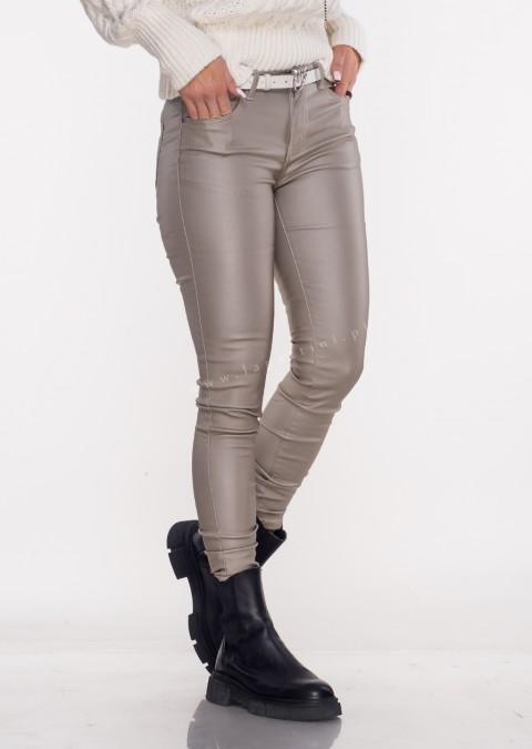 Włoskie spodnie CLASSIC 6688 woskowane beżowe