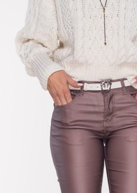 Włoskie spodnie CLASSIC 6688 woskowane wrzosowe