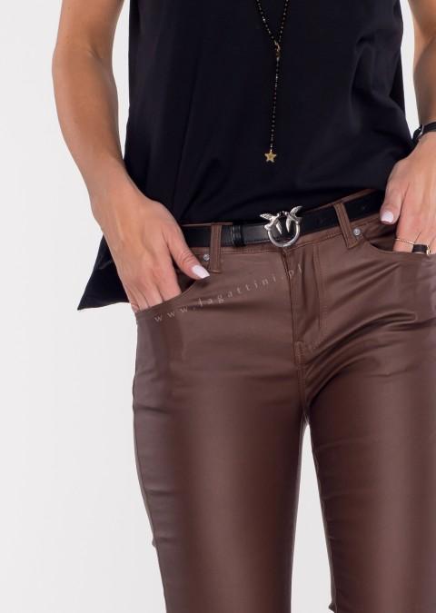 Włoskie woskowane spodnie CLASSIC 6911 ocieplane brązowe