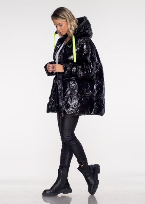 Włoska pikowana kurtka DARK SIDE czarny połysk