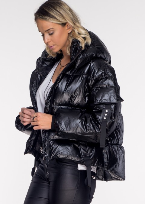 Włoska pikowana kurtka VENTO 2w1 czarna
