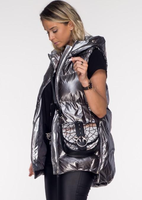 Włoska pikowana kamizelka LAMORE silver
