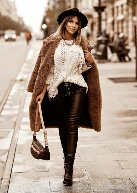 Włoski płaszcz PORTOFINO shaggy camel