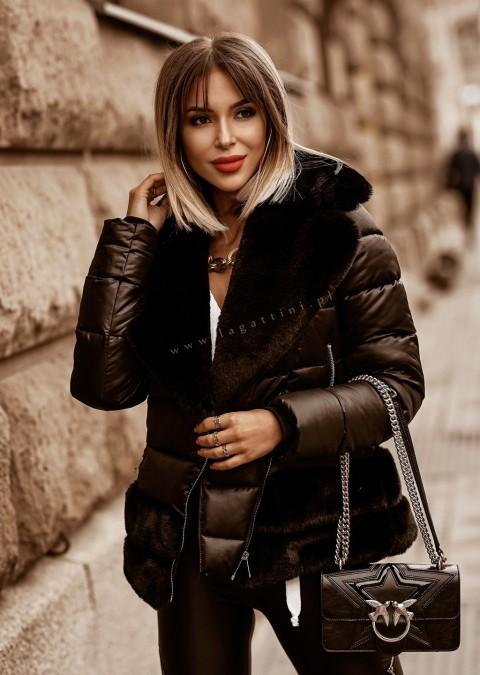Włoska pikowana kurtka PREMIUM LORENZO BLACK FUR
