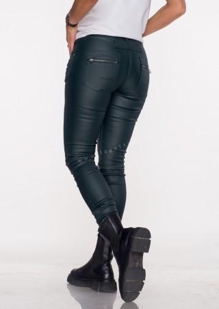 Włoskie spodnie ZAMEK&GUZIKI ekoskóra ocieplane czarne
