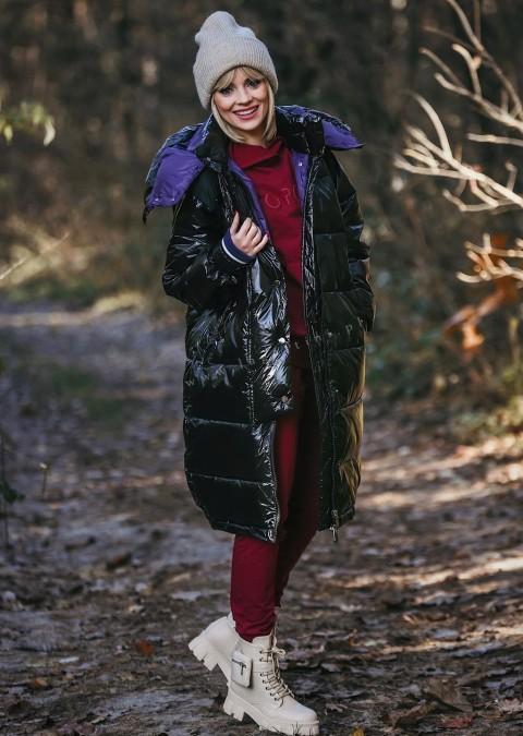 Włoski płaszcz VERONICA 2w1 czarny/fioletowy połysk