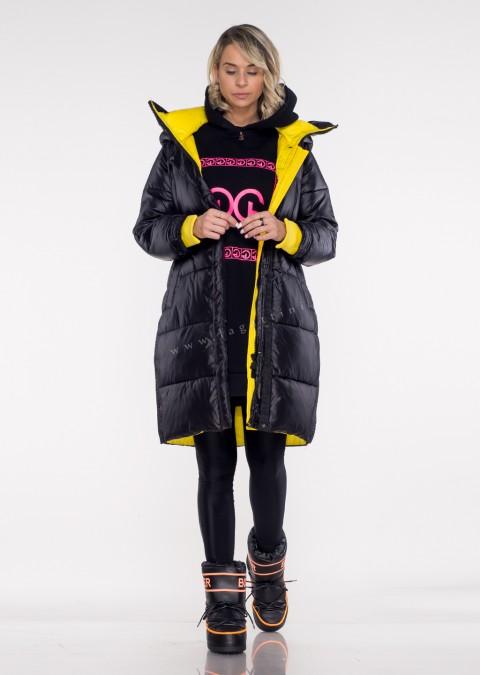 Włoski pikowany płaszcz MASSIMO black&yellow