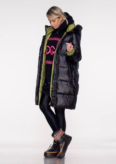 Włoski pikowany płaszcz MASSIMO black&green