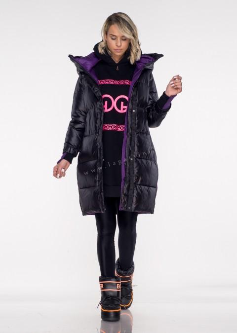Włoski pikowany płaszcz MASSIMO black&violet